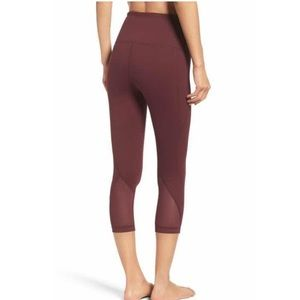 Zella Burgundy Hatha High Waist Crop Leggings